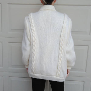 1980s IVORY SWEATER KNIT coat mid-length 80s M