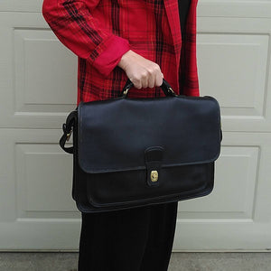 VINTAGE COACH black leather BRIEFCASE 80s 90s (F2)
