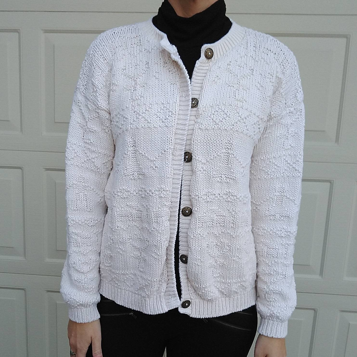 CHUNKY COTTON CARDIGAN 1980s 1990s S M L (G5)