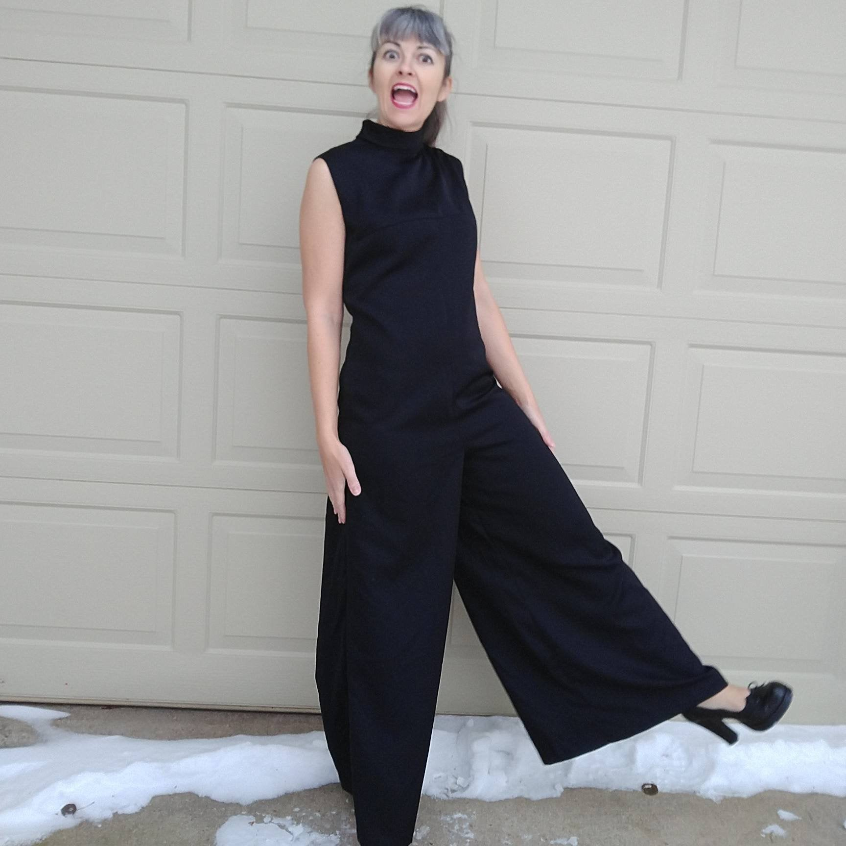 BLACK SATIN JUMPSUIT black pants romper S M (B1)
