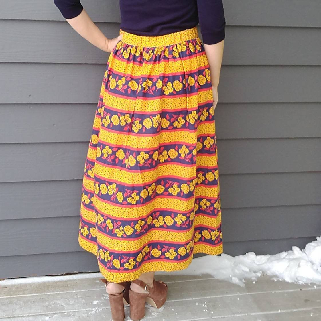 1970s MAXI SKIRT 70s summer apple calico S (H9)