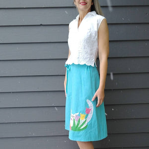CAT APPLIQUE wrap SKIRT the pond aqua 1970s 70s S M (K9)