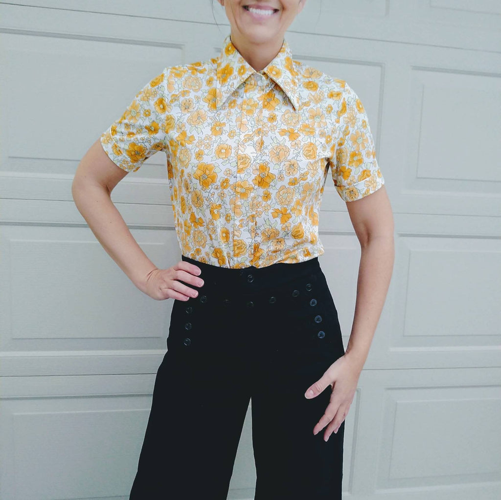YELLOW FLORAL jersey BLOUSE button down shirt S (K5)