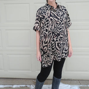 1990s ANIMAL PRINT BLOUSE 90s jungle M L xl (J3)