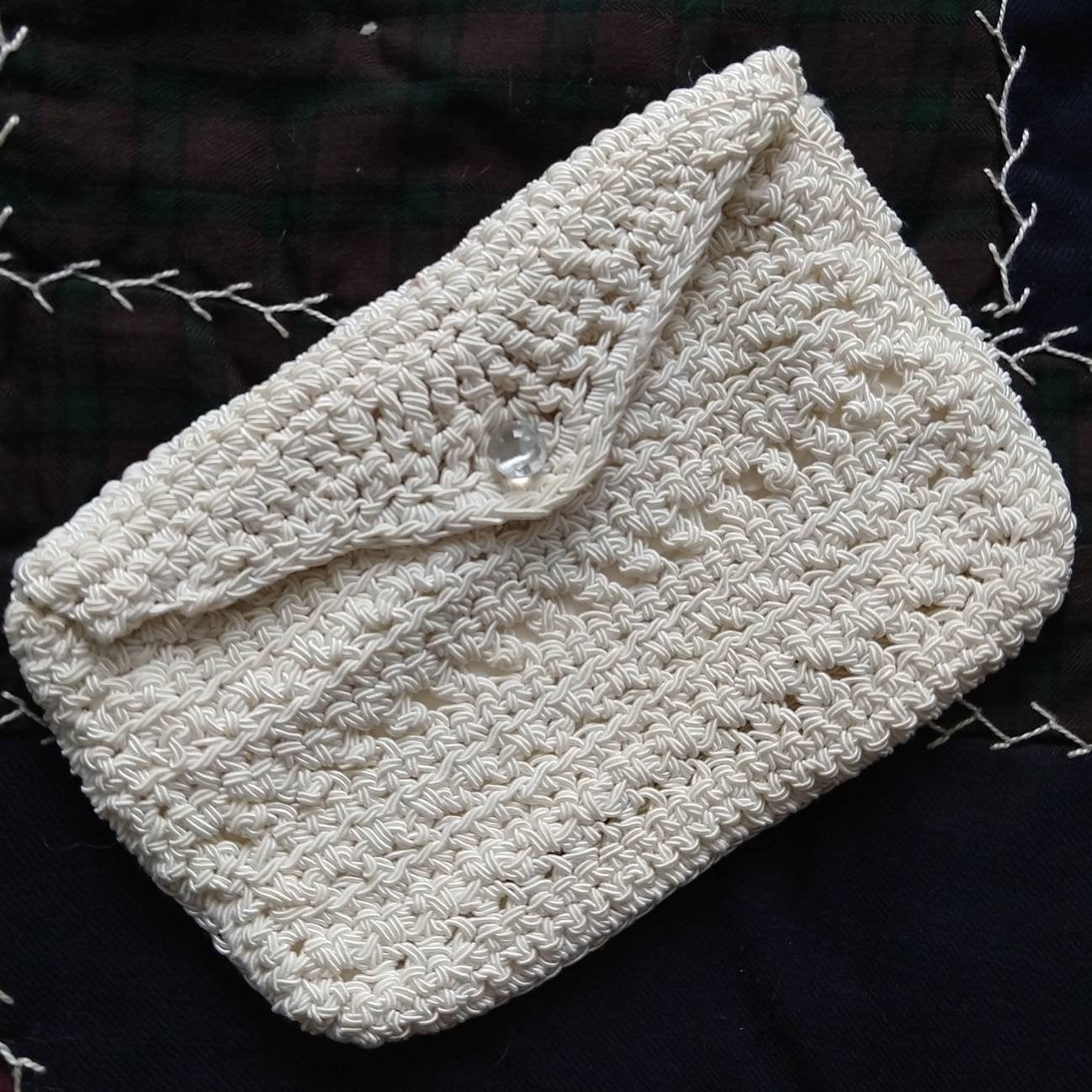 1930s 1940s IVORY SOUTACHE knit CLUTCH purse pouch (G8)