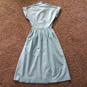 light blue COTTON SLEEVELESS DRESS bow buttons xxs 22.5 waist (G3)