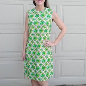 1960s 1970s GREEN PRINT shift DRESS summer mod sleeveless S M (D4)
