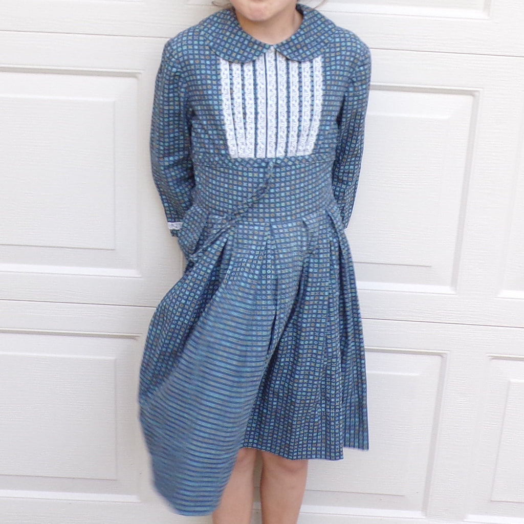 1950's COTTON DRESS 50's little girl peter pan collar 8 (K5)