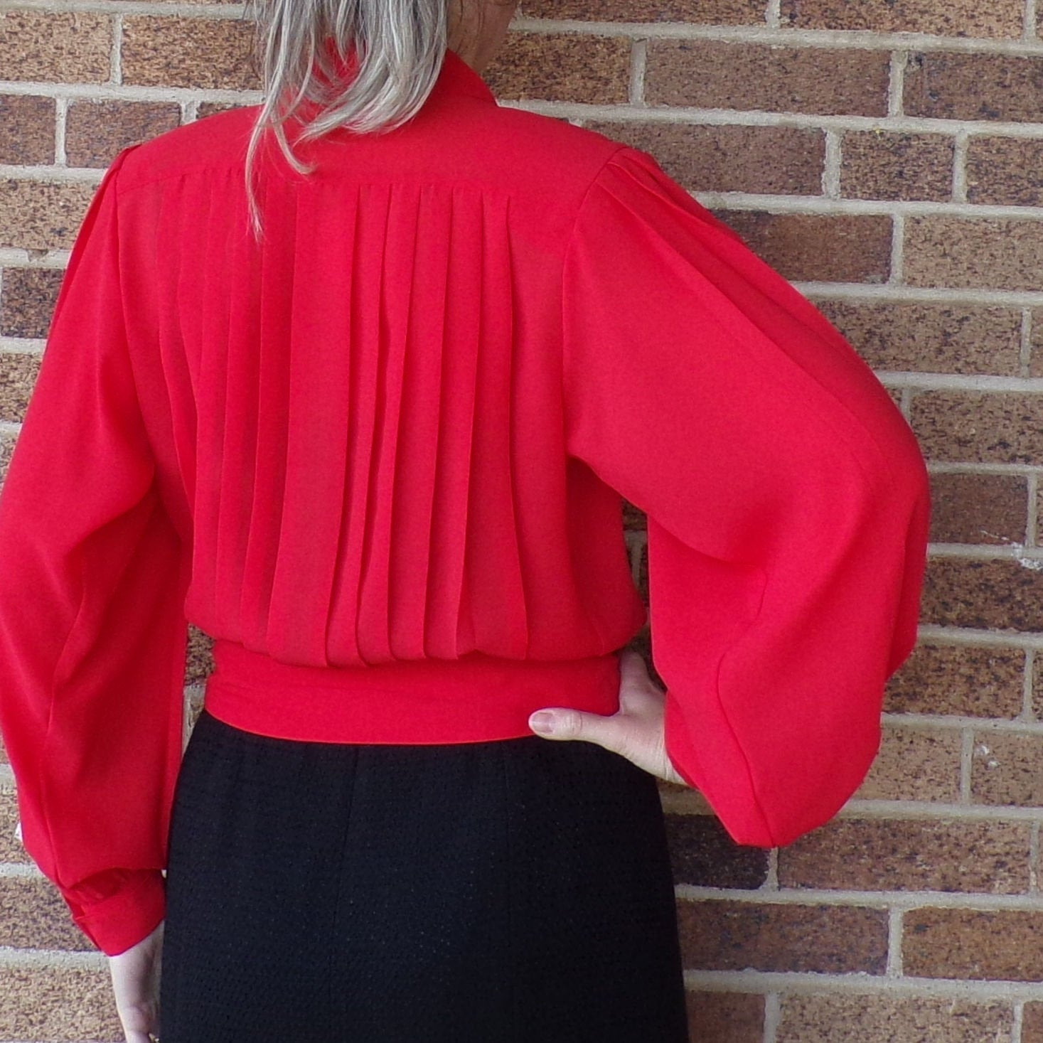RED 1980's NICOLA BLOUSE pleated with bishop sleeves S M (K5)