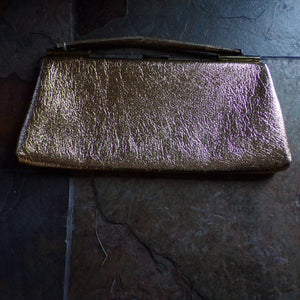 GOLDEN VINTAGE HANDBAG 1960's 60's purse (K6)