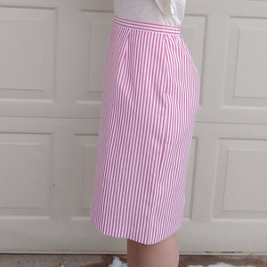 PINK SEERSUCKER pencil SKIRT 1980s 80s S M (G1)