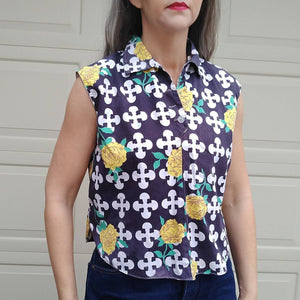1960s BOLD GRAPHICS BLOUSE 60s mod S M (F4)