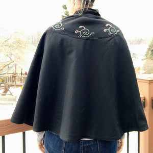 black wool VICTORIAN EDWARDIAN CAPE child size (K6)