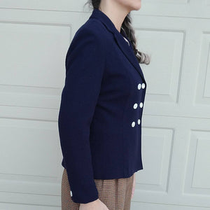 PREPPY NAVY BLAZER double breasted jacket 80s 90s S (F4)