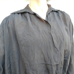 BLACK SILK edwardian BLOUSE L xl plus (K6)