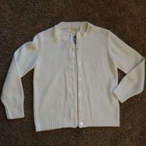 WHITE ACRYLIC CARDIGAN sweater 1960s S (H9)