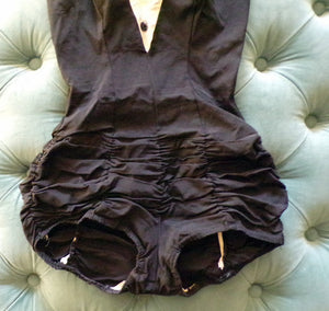 1950's TUXEDO MAILLOT SWIMSUIT 50's swim suit pin up xs S