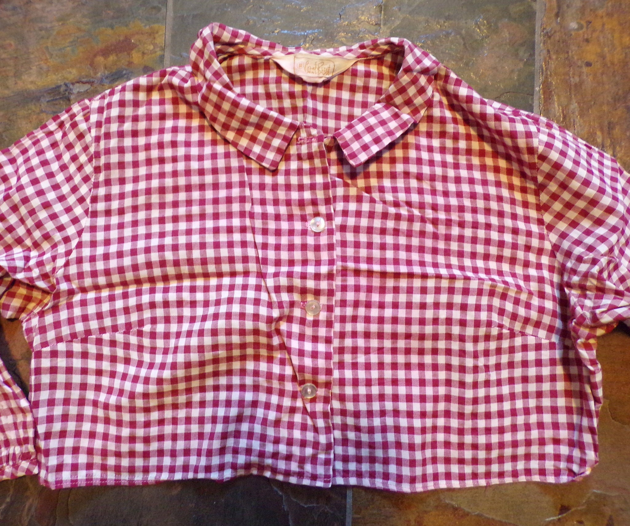 carol brent CROPPED GINGHAM BLOUSE 50's 60's S M (K7)