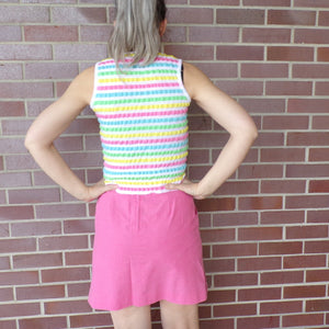 PUCKER STRIPED TOP stretchy sleeveless summer xs S