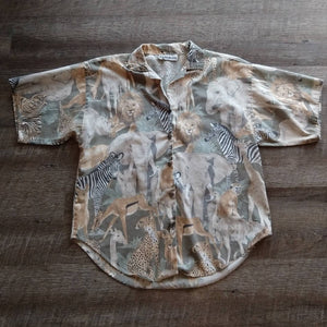 1980s SAFARI ANIMAL TOP 80s blouse lion zebra S M (G10)