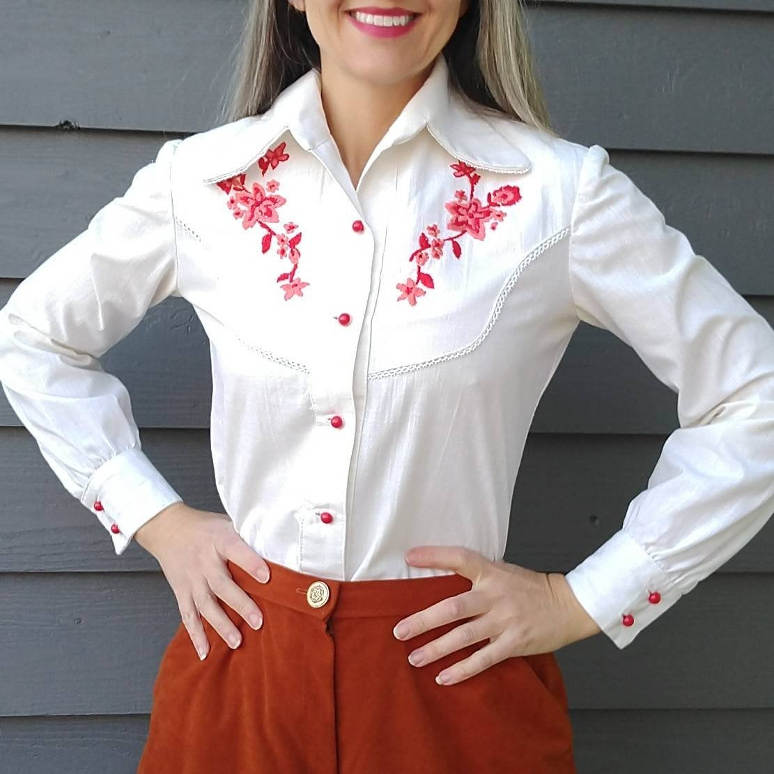 1970's WESTERN EMBROIDERED BLOUSE 70's S (G1)