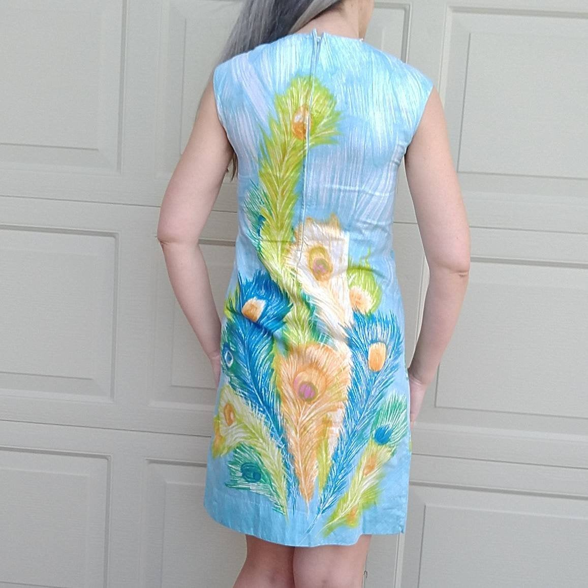vintage PEACOCK FEATHER PRINT shift dress 1960's 60's 32 bust xs xxs (K10)