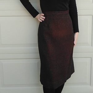 HANDMADE 1960's VINTAGE SKIRT tweed wool winter straight L