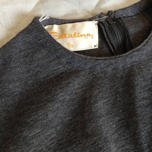 charcoal gray CATALINA KNIT SHELL vintage 60s 1960s S M (K10)