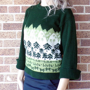 1970's GREEN PULLOVER SWEATER intarsia tree 70's S