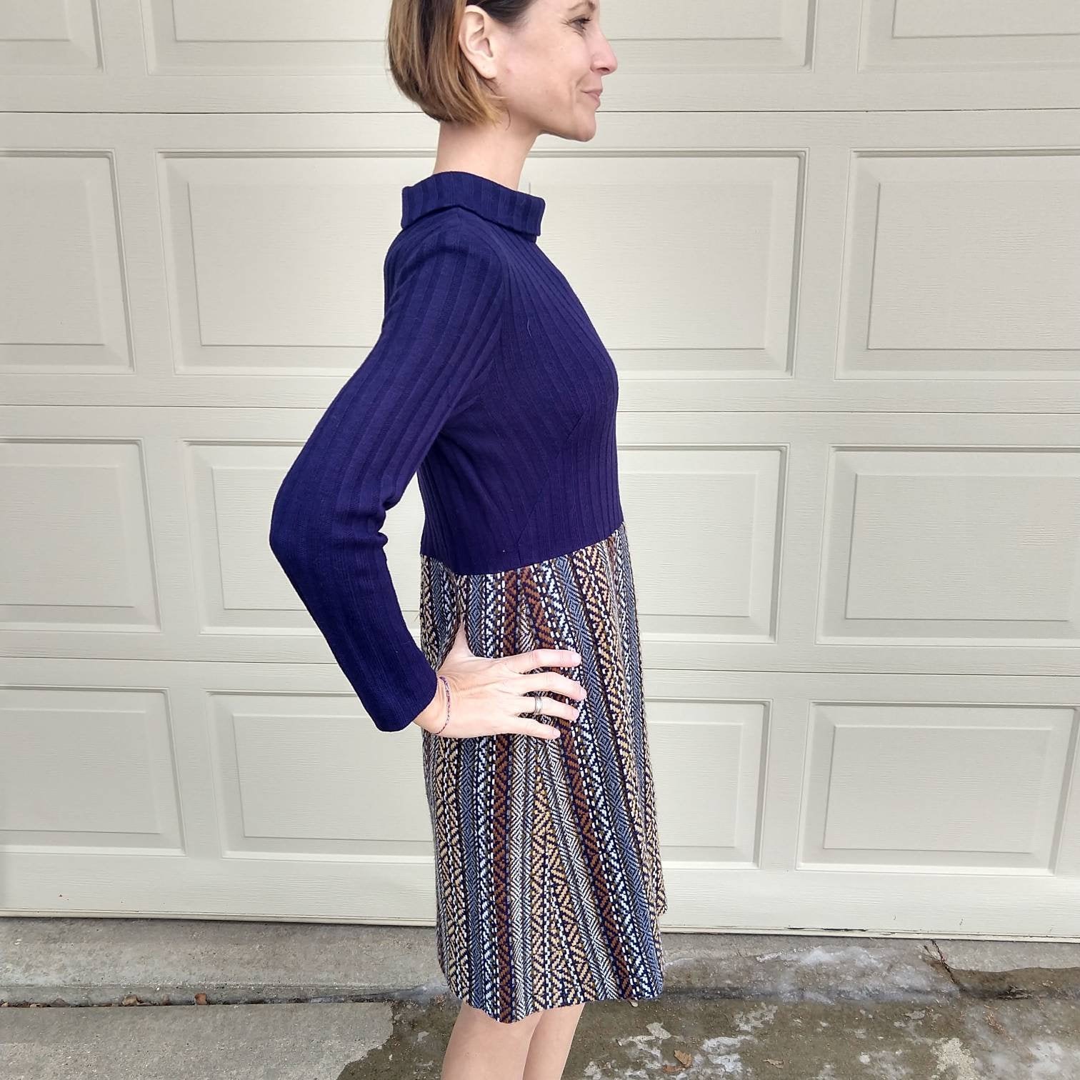 MOD KNIT DRESS sweater 60s 1960s S (A8)