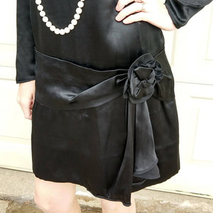 1920s BLACK SATIN flapper DRESS 20s xs