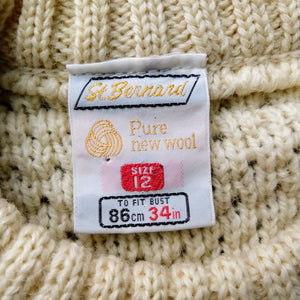 CHUNKY vintage FISHERMAN SWEATER crew neck 35 chest (D7)