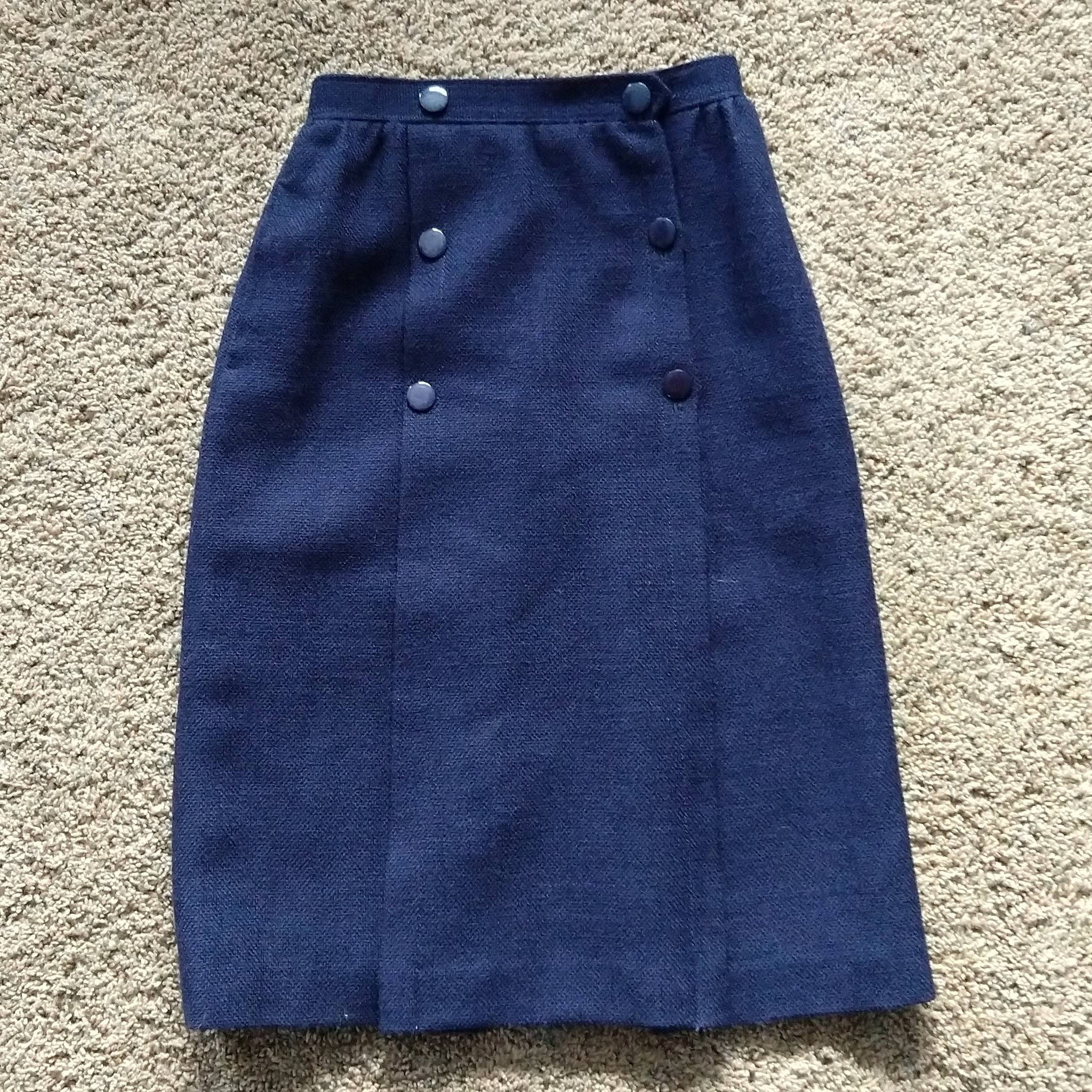 NAVY BLUE woven SKIRT with pockets 80s 90s xs (J8)