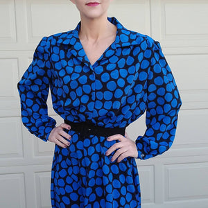 volup 1980s POLKA DOT DRESS shirtwaist 1X 2X xxl (A7)