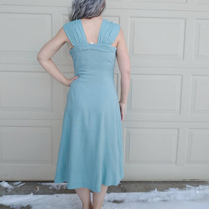 1950s AQUA DRESS SET with bolero jacket 50s S