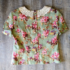 1980s CABBAGE ROSE BLOUSE 80s button back linen S (K5)