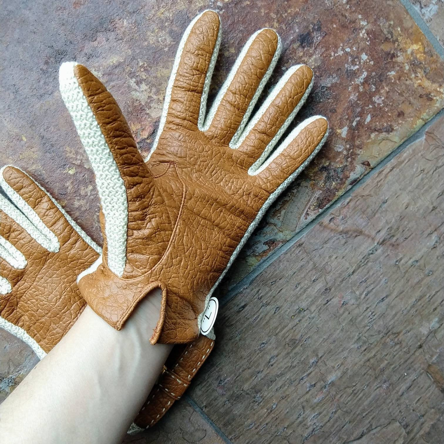 1970s DEADSTOCK DRIVING GLOVES 70s faux leather