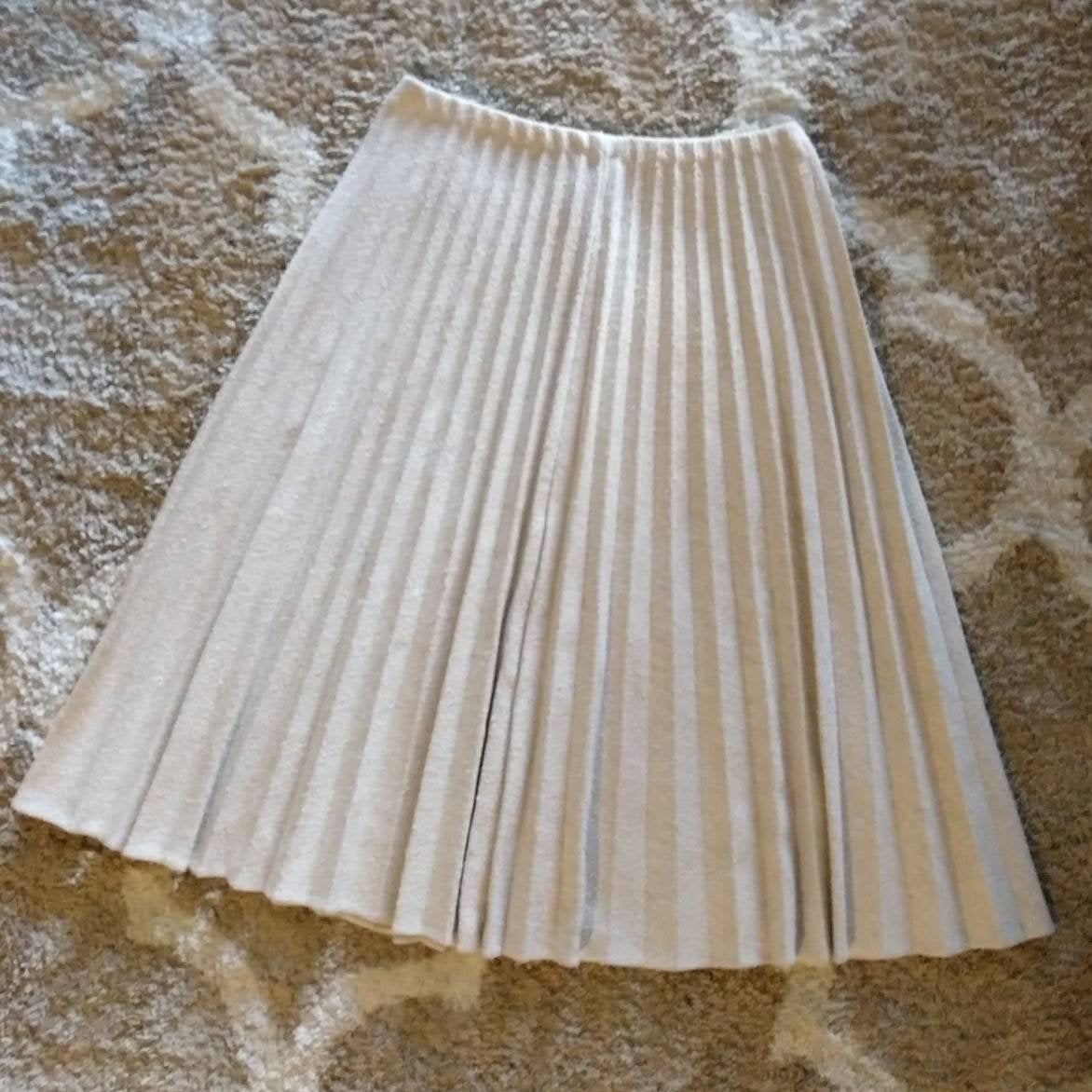SOFTLY PLEATED knit 1970s SKIRT 70s S M (G6)