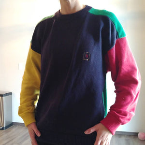 TOMMY HILFIGER crewneck colorblocked SWEATER M (F8)