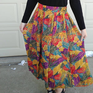 1990's 90's RAYON MAXI SKIRT bright colors M (G5)