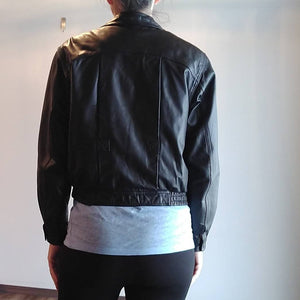 1990's BLACK LEATHER JACKET bermans bomber 90's coat S