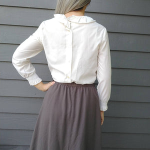 1960s 1970s BUTTON BACK BLOUSE ruffle neck mod S