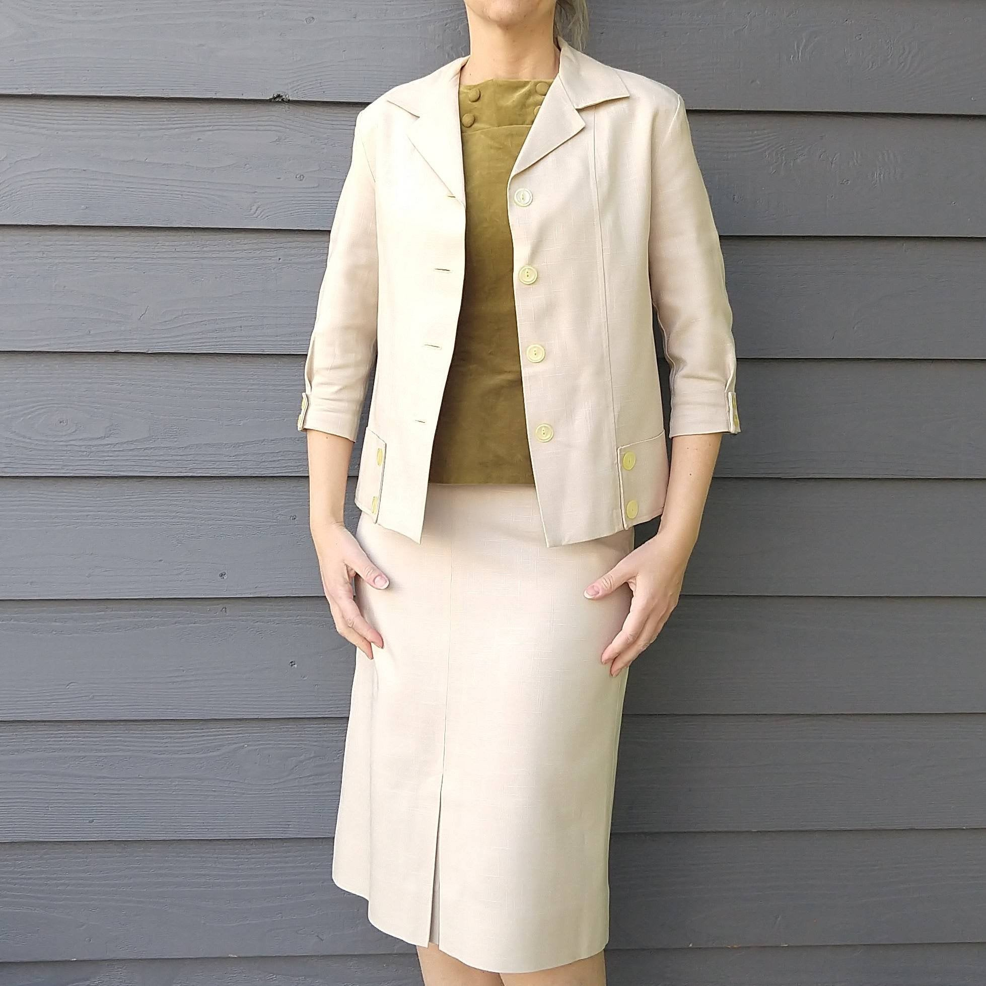 MAYFAIR SUMMER SUIT skirt and jacket set 1960s 60s S
