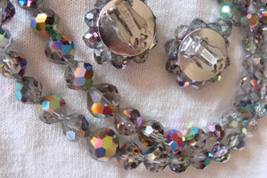 vintage 1950's SIGNED LAGUNA SET necklace earrings carnival rainbow glass crystal parure (C1)