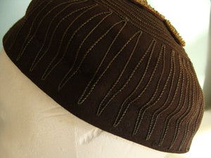 CHOCOLATE BROWN WOOL vintage hat skullcap beaded butterfly embroidered