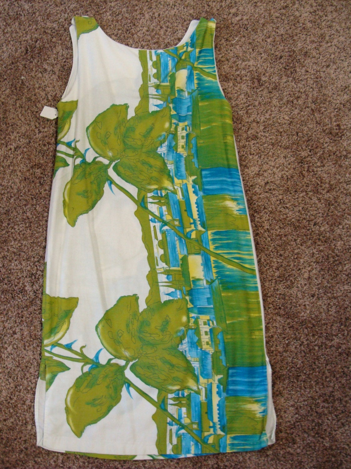 novelty print ISLAND RESORT DRESS cotton sateen vintage shift S xs (A2)