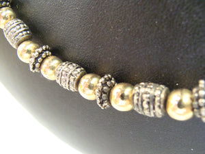 signed NAPIER heavy gold silver metal beaded necklace (C6)