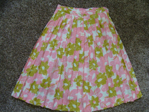 PINK AND GREEN pleated skirt 1960's 60's S 25 waist (A9)