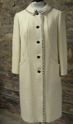 lovely BETTIJEAN IVORY COAT wool black topstitching midi  M