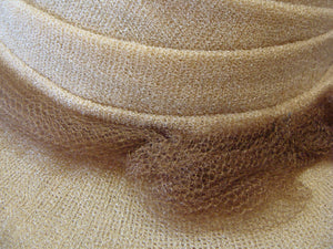 flexible TAN SUMMER HAT vintage beige brown tilt hat tulle
